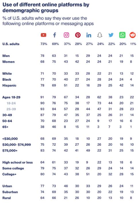 Utilisation de diverses plateformes en ligne par des groupes démographiques